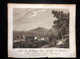 Clarke C1820 Antique Print. View of Palermo, the Capital of Sicily. Italy